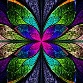 Symmetrical multicolor fractal flower in stained glass style. Computer generated graphics. poster