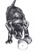 Detailed original sketch of a Labrador puppy with toy boot poster