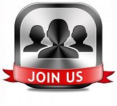 Join us now button and register here for free today. Registration icon member or membership sign poster