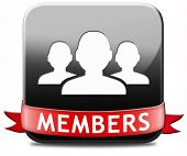 members only restricted area icon sign or sticker become a member and join here to get your membership application label or button. poster