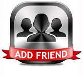 Add friend button join online community virtual friends through networking poster
