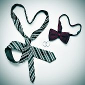 a tie and a bow tie forming hearts and wedding rings, depicting the gay marriage concept, with a retro effect poster