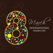 International Happy Women's Day celebration concept with stylish colourful text 8th March on brown background. poster