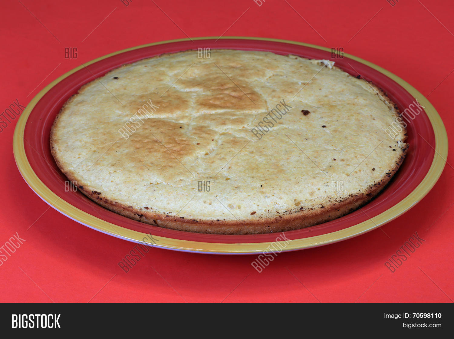 Corn Pone On Red Plate Image Photo Free Trial Bigstock