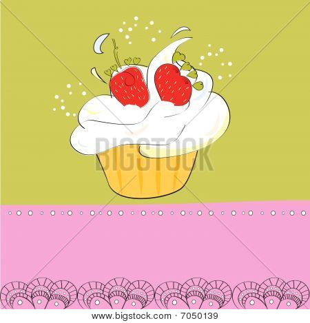 Decorative card with cupcake
