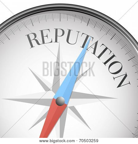 detailed illustration of a compass with reputation text, eps10 vector