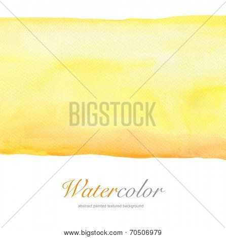 Abstract yellow watercolor hand painted background. Textured paper.