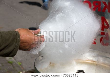 The Candy floss machine with white candyfloss