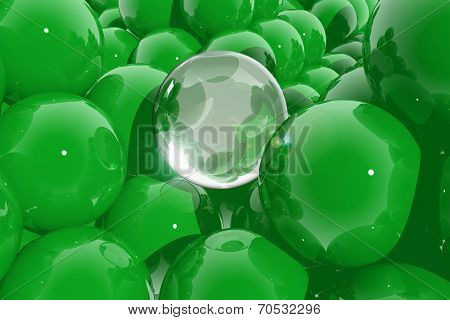 Abstract Composition With Green Spheres