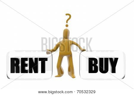 Character Deciding Whether To Buy Or Rent