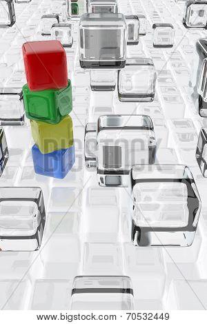 Colorful Cubes Composition