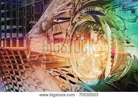 Wheel Close Up Of Futuristic Car