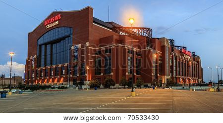 INDIANAPOLIS, INDIANA, JUNE 25, 2014: Lucas Oil Stadium. The stadium was opened in 2008 replacing RCA Dome and hosted Superbowl in 2012