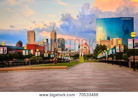 INDIANAPOLIS, INDIANA, JUNE 25, 2014: Indianapolis downtown as seen from the pedestrian bridge across White River. JW Marriott building is the newest addition to the city skyline