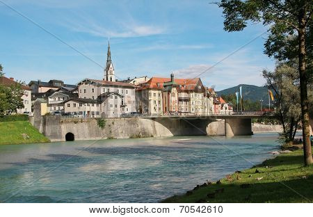 bad tolz old town and isar river bavarian landscape germany poster