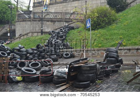 KIEV, UKRAINE - APR 19, 2014:Vandalism in downtown. Kiev under occupation of peasants from Western Ukraine.They want to be in EU. Putsch of Junta in Kiev.April 19, 2014 Kiev, Ukraine