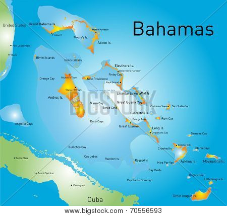 Bahamas vector color map country