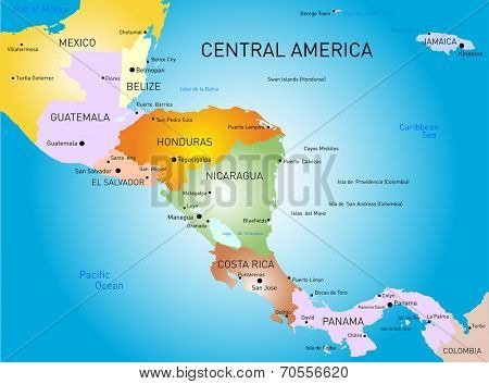 Vector color central america map
