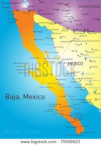 baja california vector color map
