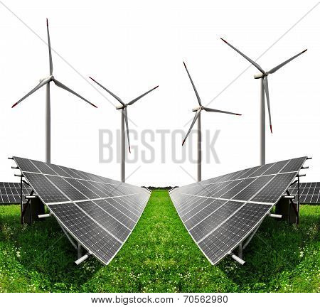 Solar energy panels with wind turbines