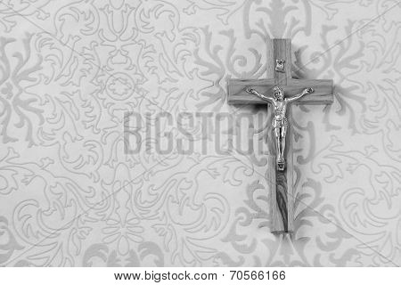 Mourning: Cross On Grey Ornament Background