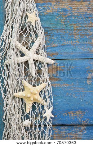 Blue Wooden Background With Starfish - Maritime Decoration.