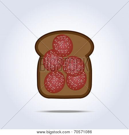 Black Toaste With Salami Icon