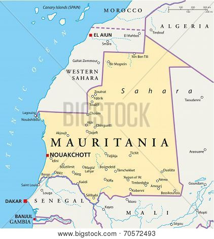 poster of Mauritania Political Map with capital Nouakchott, national borders, most important cities, rivers and lakes. Illustration with labeling and scaling.