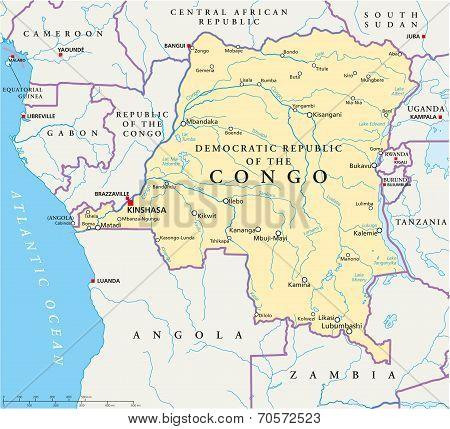 Congo Democratic Republic Political Map