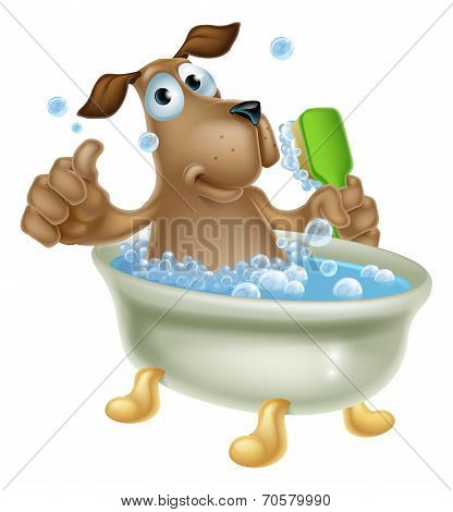 Dog Grooming Bath Cartoon