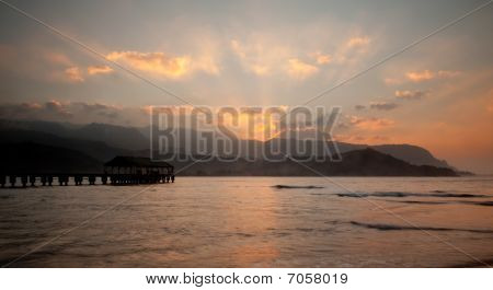 Hanalei Pier At Sunset