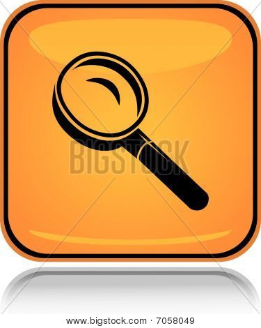 Yellow square icon search glass with reflection