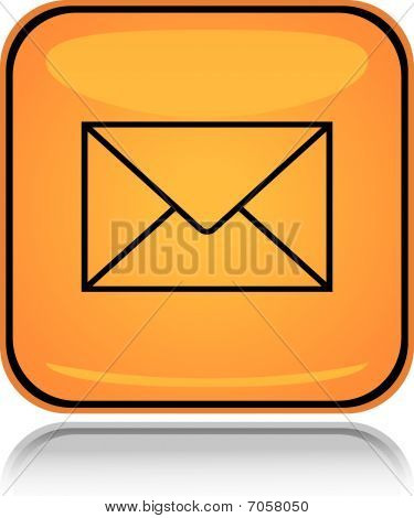 Yellow square icon letter mail with reflection