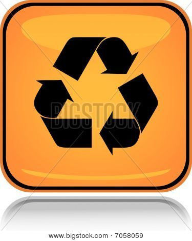 Yellow square icon recycling sign with reflection