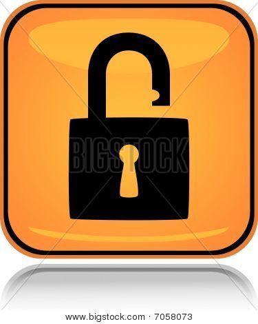 Yellow square icon unlocked padlock with reflection