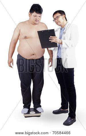 Doctor Showing Report To Fat Man
