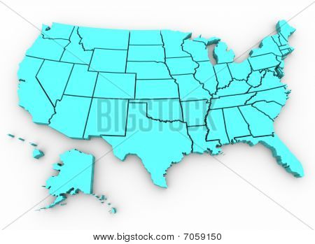 U. S. A. Map - United States 3D Render
