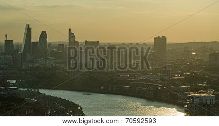 Hazy sunset, City of London