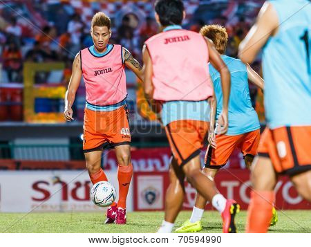 Sisaket Thailand-august 13: Watsapol Thosantia Of Sisaket Fc. In Action During A Training Ahead Thai