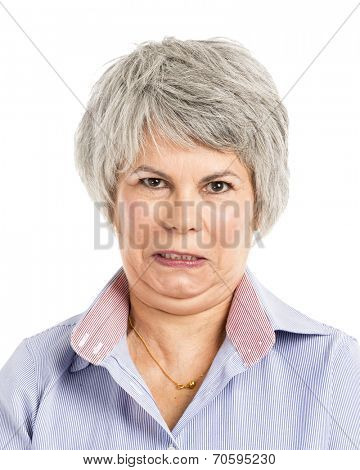 Portrait of a elderly woman with a angry expression