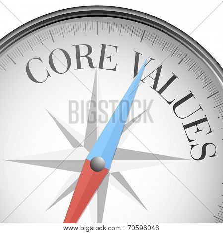 detailed illustration of a compass with core values text, eps10 vector