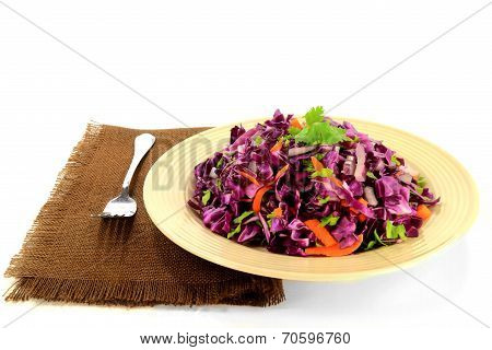 Red Cabbage Salad Seasoned With Carrots And Celery