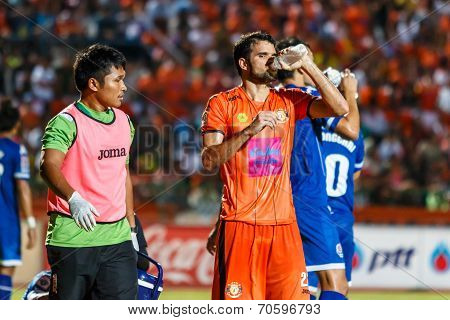 Sisaket Thailand-august 13: Victor Amaro Of Sisaket Fc. (orange) Drinking Water During Thai Premier