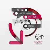 Embossed paper minimal style line diagram and stickers with options. Banner or business infographic layout poster