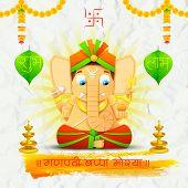 illustration of statue of Lord Ganesha made of paper for Ganesh Chaturthi with text Ganpati Bappa Morya (Oh Ganpati My Lord) poster