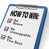 how to win clipboard with check boxes marked for the words be brave unstoppable and the best poster