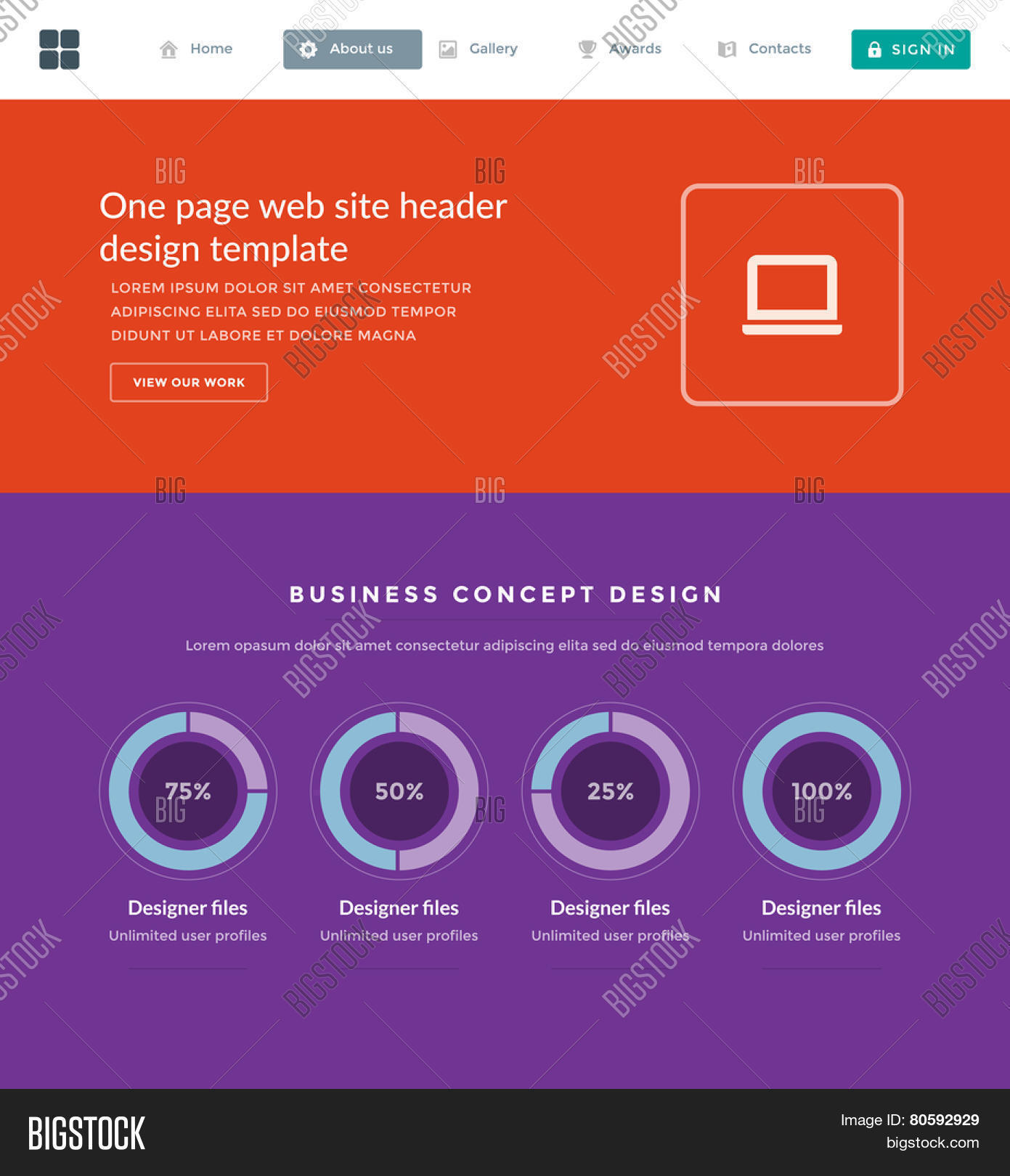 Website Template Vector & Photo (Free Trial) | Bigstock