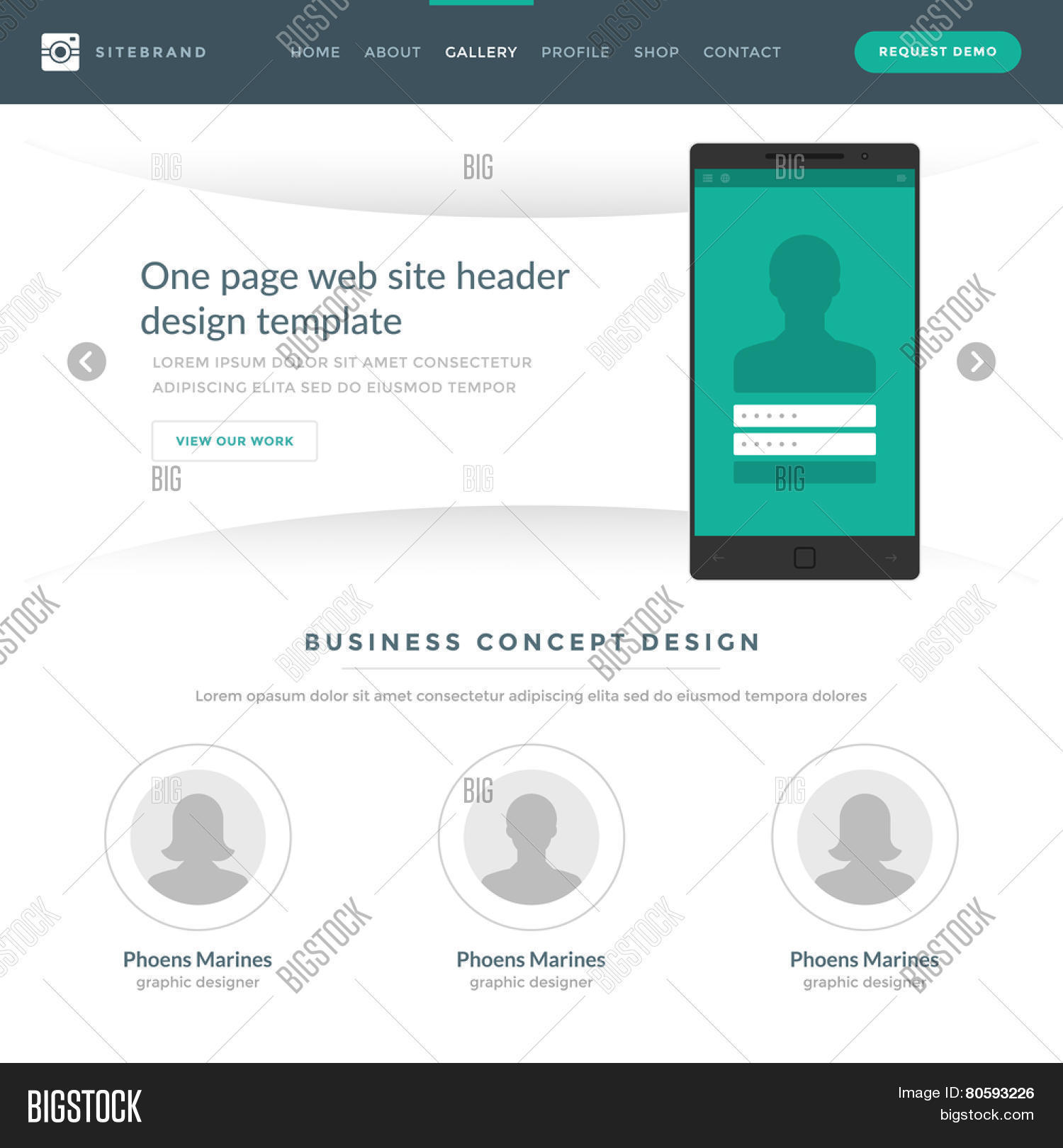 Website Template Landing One Page Vector & Photo | Bigstock