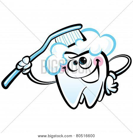Happy Cartoon White Molar Tooth Character Washing With Dental Toothbrush