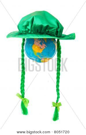 St Patrick Day Concept With Green Hat And Globe On White